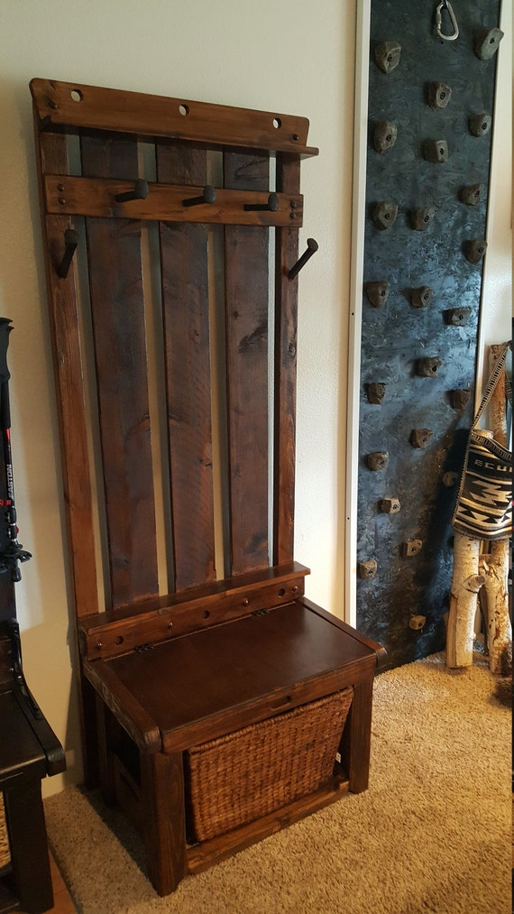 Compact Entryway Bench Hall Tree Shoe Storage Espresso | Etsy