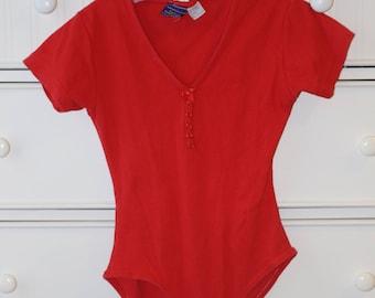 Vintage Red Ribbed Bodysuit