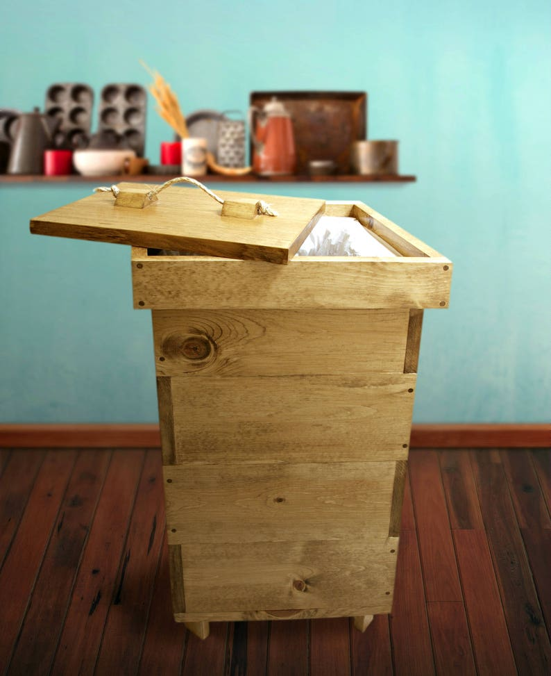 Wood Kitchen Trash Can With Lid Wood Trash Bin Garbage Can Etsy