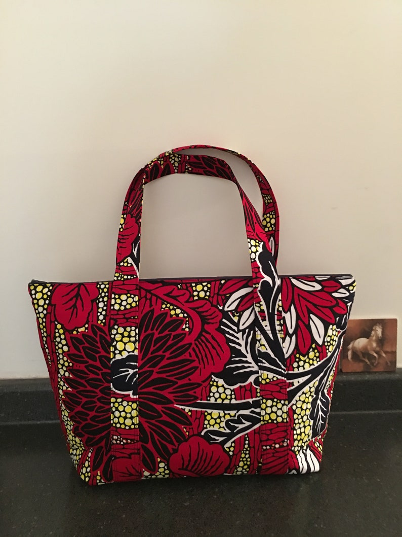75f00aa58102 Red Floral African Print X-Large Fabric Tote Bag Exercise