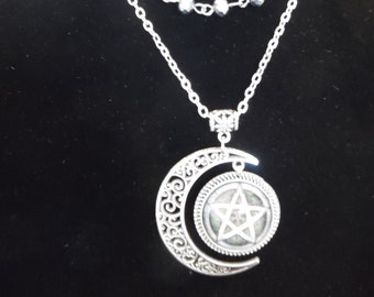 Filigree Moon and Pentagram Necklace, Wire-Wrapped Floating Strand