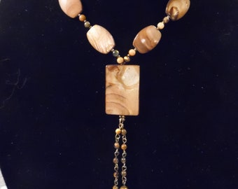 Tiger Eye and Shell Beaded Necklace