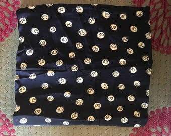 Navy blue 1970's woven fabric
