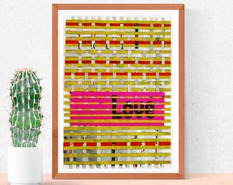 Love / Hand-woven - Mixed papers - Recycled paper, Tetra pak - Weave 13.58x9.56 inches - Eco design, Art, modern, inspirational word.