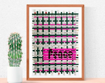 Peace / Hand-woven - Mixed papers - Recycled paper, Tetra pak - Weave 13.58x9.56 inches - Eco design, Art, modern, inspirational word.