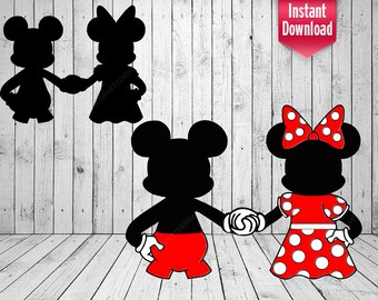 Mickey and Minnie Couple Holding Hands PNG pdf svg eps dxf Cut File