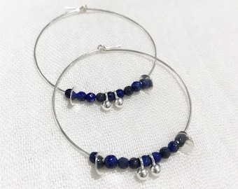 Sterling silver Creole earring, semi precious Lapis Lazuli beads and charm / Original Creole / gift for her