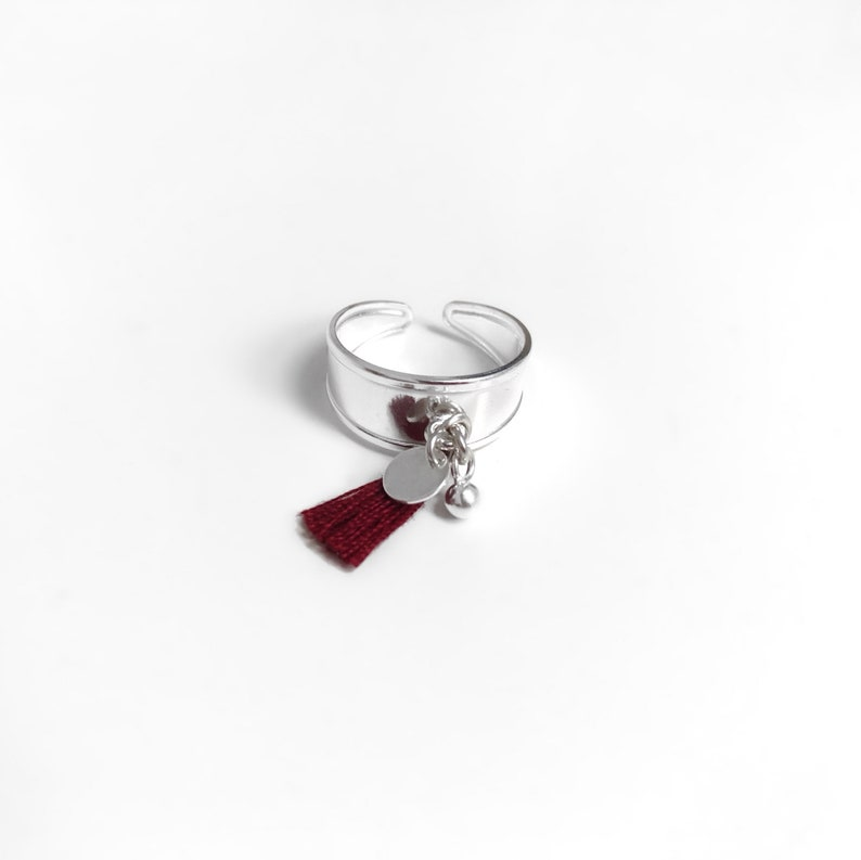 Original and adjustable sterling silver ring with a mini mustard tassel and charms  Ring for her  Christmas gift
