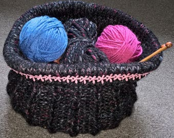 Hand Knit Storage Container for Wool