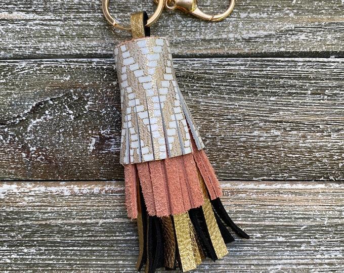 Gold Herringbone Abby Tassel Keychain