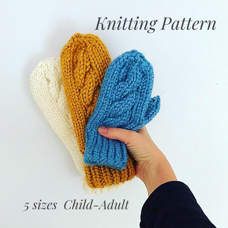 Knitting PatternPDF Easy Bulky Cable Mittens DPN Mitten image 0