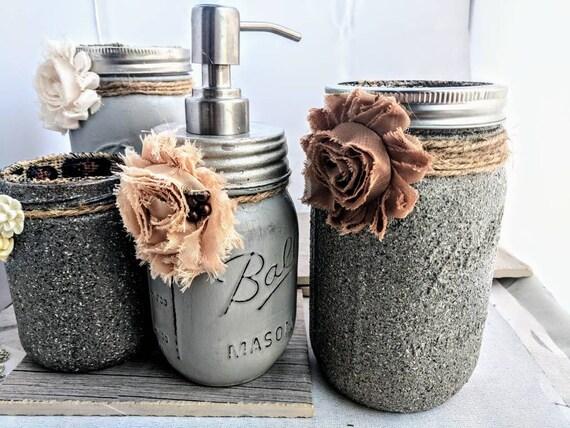 Modern Stone Mason Jar Settaupe Bathroom Decorstone Etsy