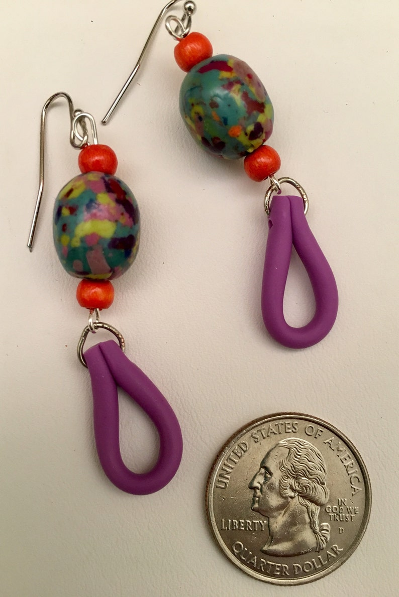 Polymer Confetti Beads and Purple Loops