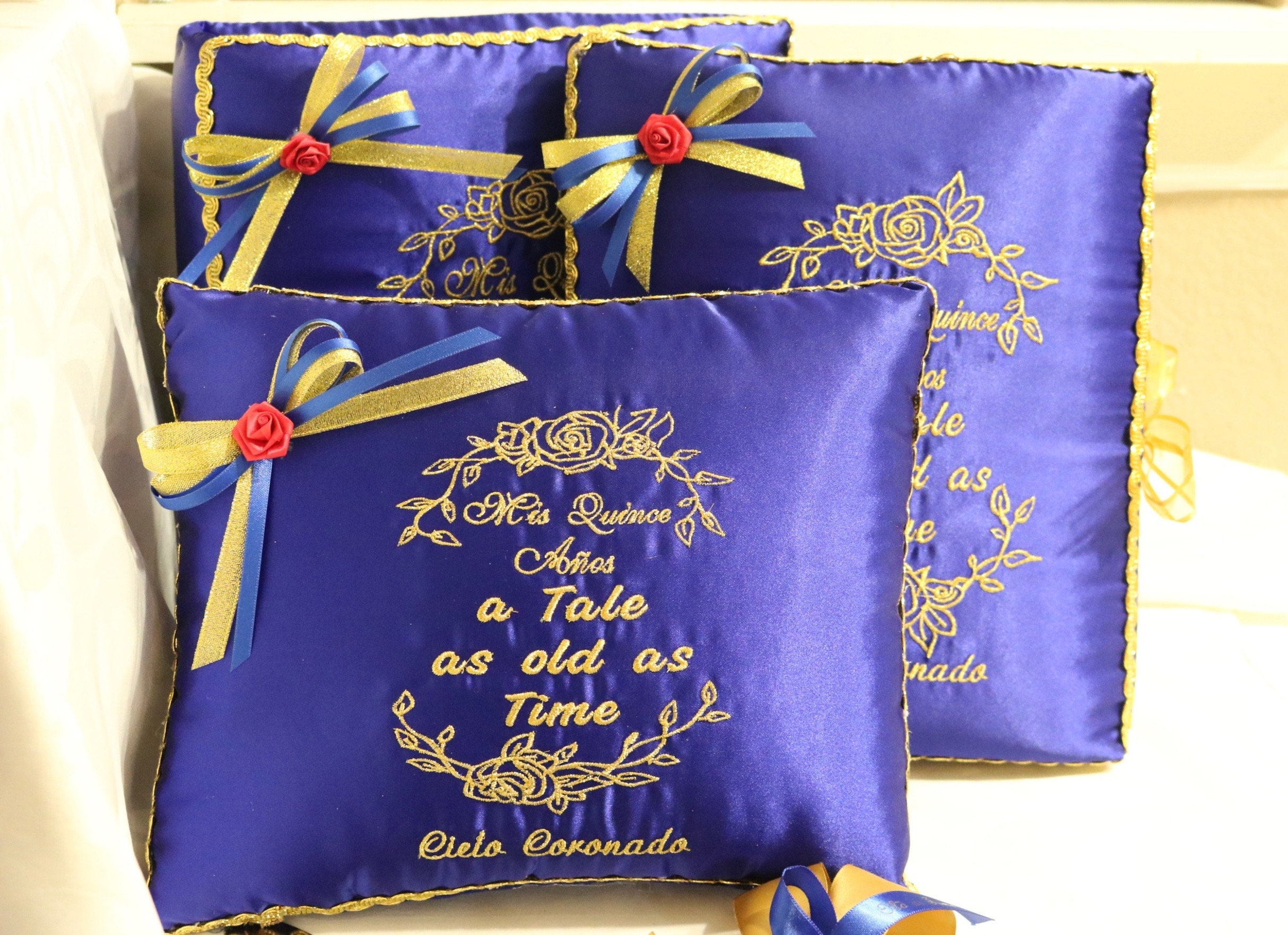 Quinceanera Accessories Pillow Set Beauty And The Beast Etsy