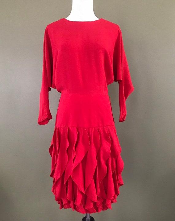 Red Drop Waist Ruffle Skirt Dress