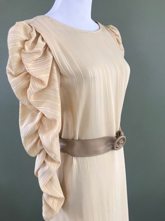 Pale Yellow on Yellow Striped 1980s Dress & Belt