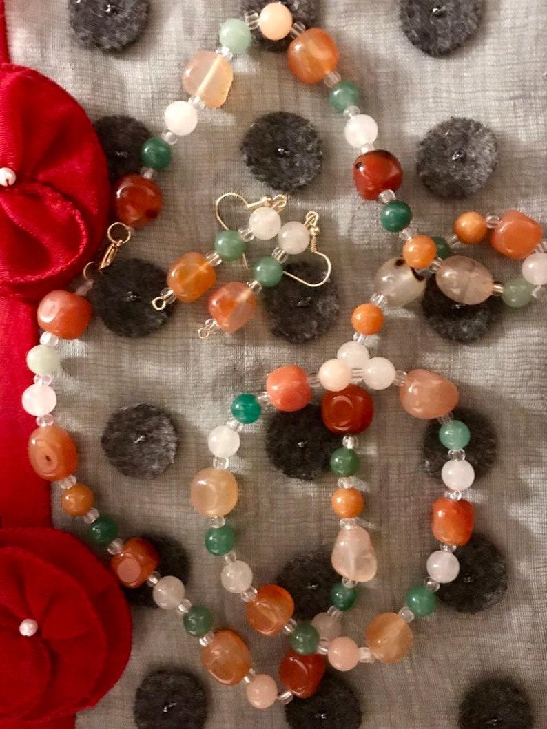 Genuine and Charged Carnelian and Aventurine Healing Jewelry Set