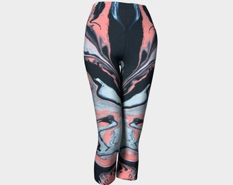 Coral Dreams capri leggings, yoga leggings, activewear, capri pants, long exercise leggings