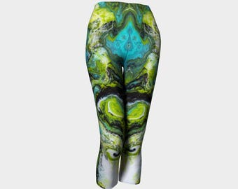 Unbroken fluid painting capri leggings, yoga leggings, long keggings, yoga pants, exercise leggings, activewear