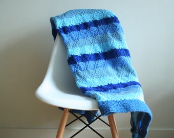 Hand knitted multicolour blue striped knitted blanket