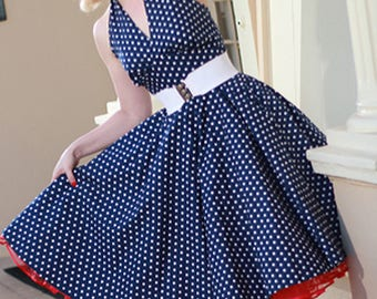 1e4c7dc02eea Navy Blue Polka Dot Halter Pin Up Dress-50s Style -Summer Dress-Swing-Rockabilly-  VLV-Tea Length-Full Skirt-1950s Inspired- Vintage Wedding-