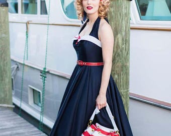 34f6755a3f8b 50s Inspired Navy Blue Swing Dress-1950s Style Halter Dress-Pin Up-Nautical  Look-Red White and Blue- Tea Length Full Circle Skirt