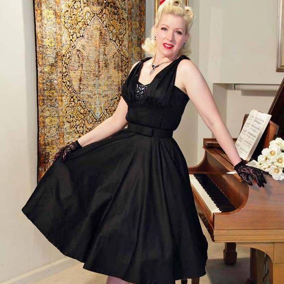 50s Retro Black Swing Dress 1950s Pinup Style Tea Length Full Etsy