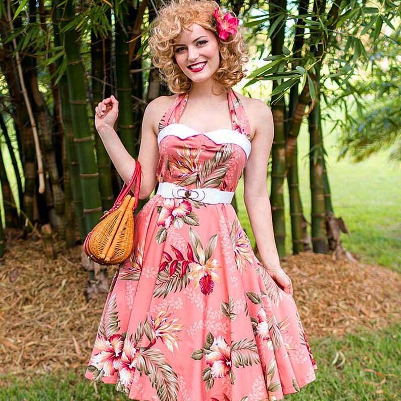 24d978ff348b 50s Style Hawaiian Pin Up Halter Dress-1950s Inspired Tea