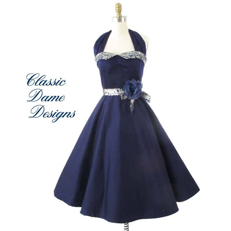 14d57634aff 50s Style Navy Blue Halter Style Party Dress-1950s Pinup