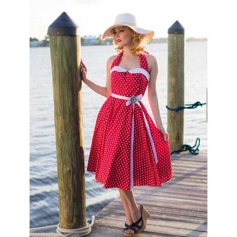 f315e7ffea8 Retro Red Polka Dot Halter Dress-50s Style Swing