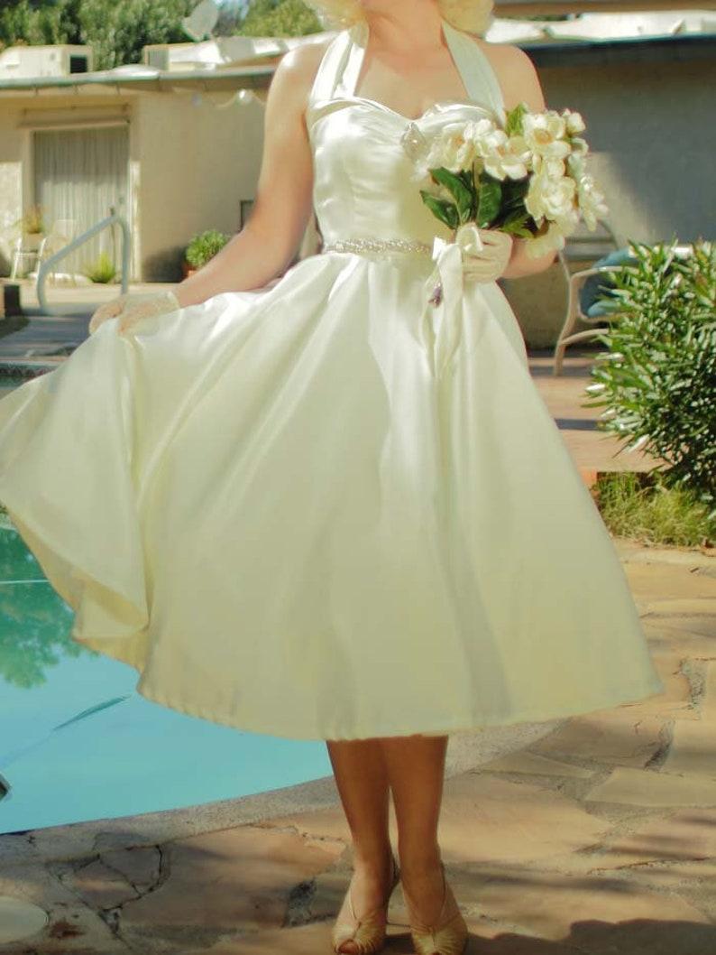 50s Wedding Dress, 1950s Style Wedding Dresses, Rockabilly Weddings SALE-Retro Ivory Tea Length Wedding Dress-50s Style Halter Bridal Dress-Rockabilly-VLV-New Look-Fit and Flare-Sweetheart Neckline $74.99 AT vintagedancer.com