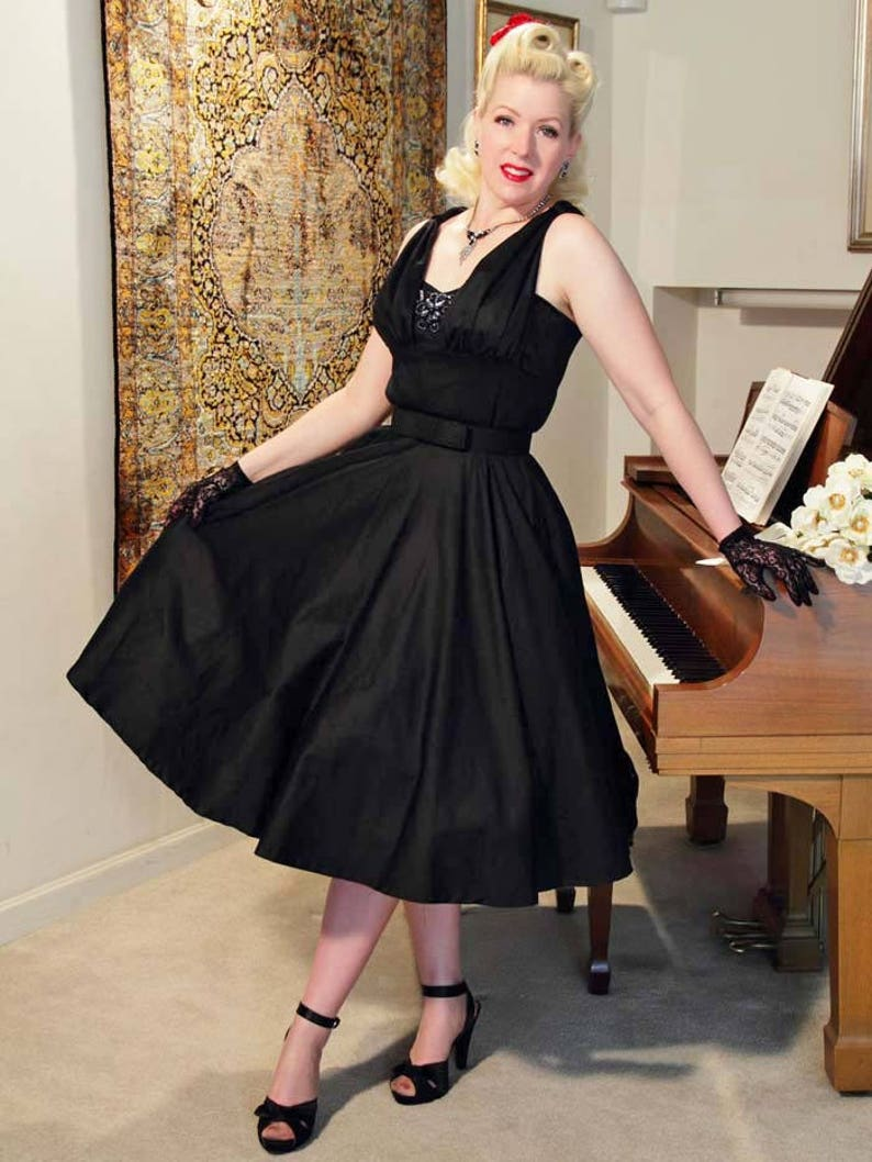 1950s Style Clothing & Fashion SALE-50s Retro Black Swing Dress-1950s Pinup Style- Tea Length Full Circle Skirt-Cocktail Party-VLV- Viva Las Vegas-Rockabilly-Wedding $74.99 AT vintagedancer.com