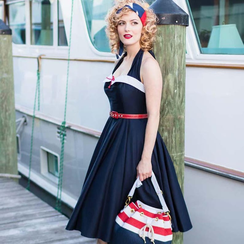 ce3b59a752e56 50s Inspired Navy Blue Swing Dress-1950s Style Halter | Etsy