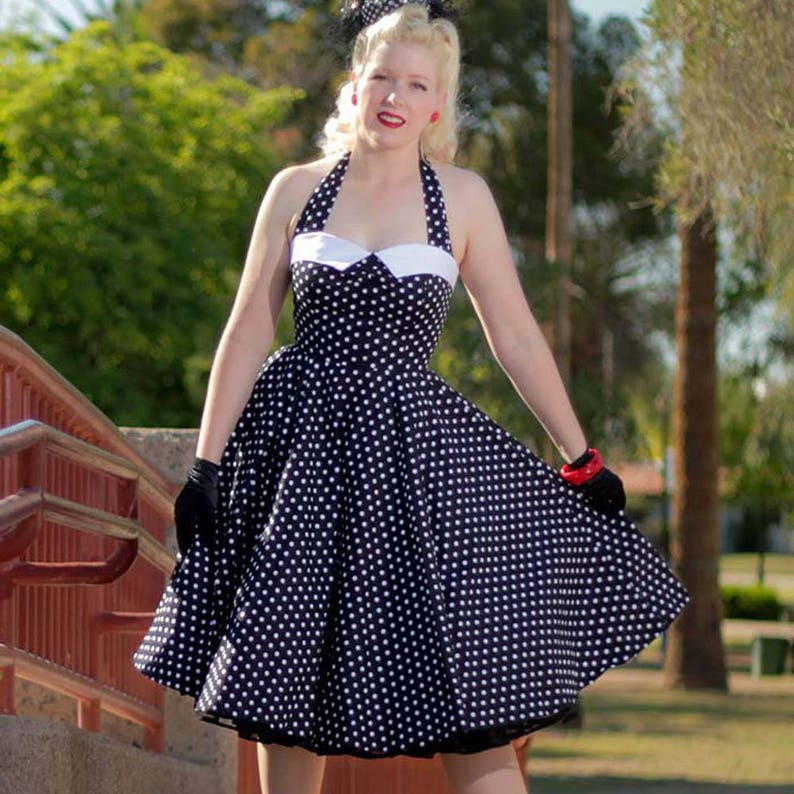 1950s Style Clothing & Fashion Black White Polka Dot Halter Dress-1950s Inspired Pin Up Dress-Swing-Sweetheart Bodice-Pleated Bust-Cotton-Pockets-Full Circle Skirt- $64.99 AT vintagedancer.com