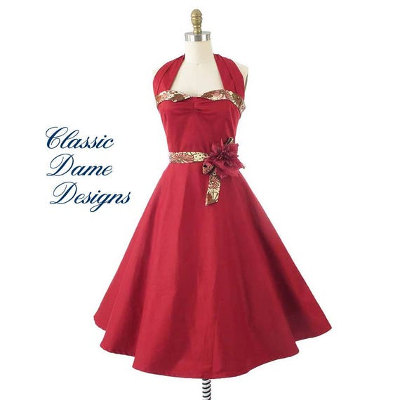 Red Halter Swing Dress