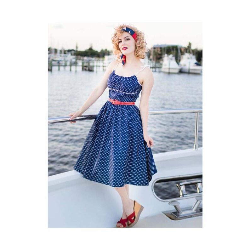 f1661f574a6 Navy White Polka Dot Retro Sundress-50s Style Summer