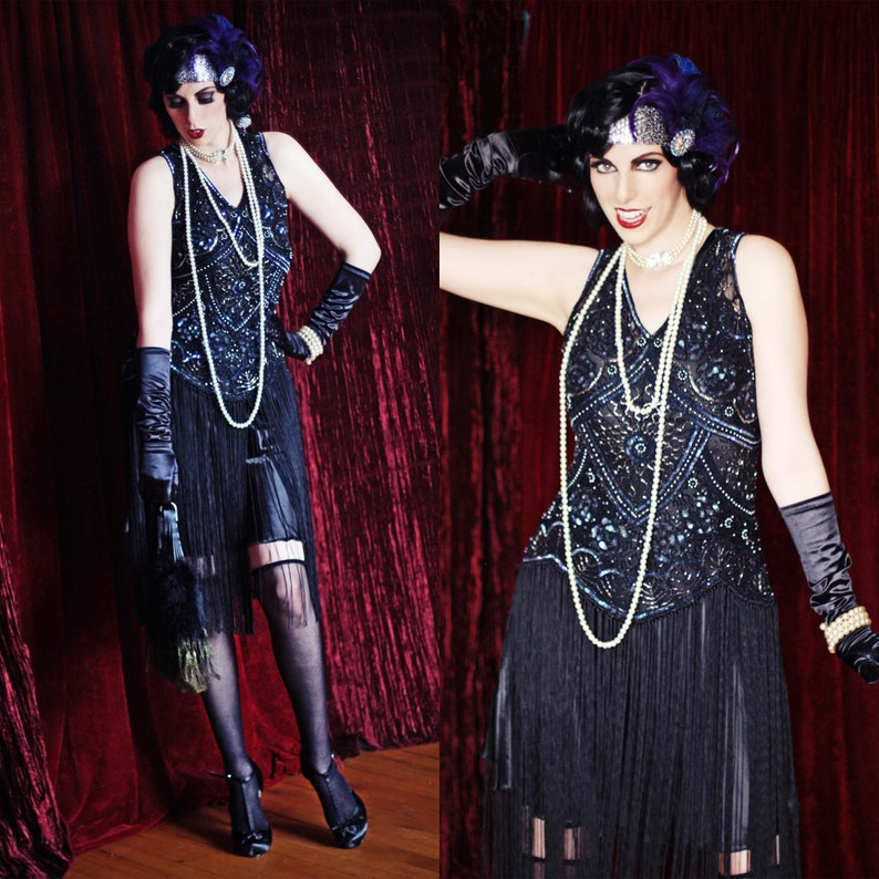 1920s Style Dresses, 20s Dresses 20s Style Black Beaded Flapper Dress-Fringed-Sequined-Jazz Baby-Roaring Twenties Party Dress-Theater-Costume-Art Deco-Speakeasy Gatsby Event $69.00 AT vintagedancer.com