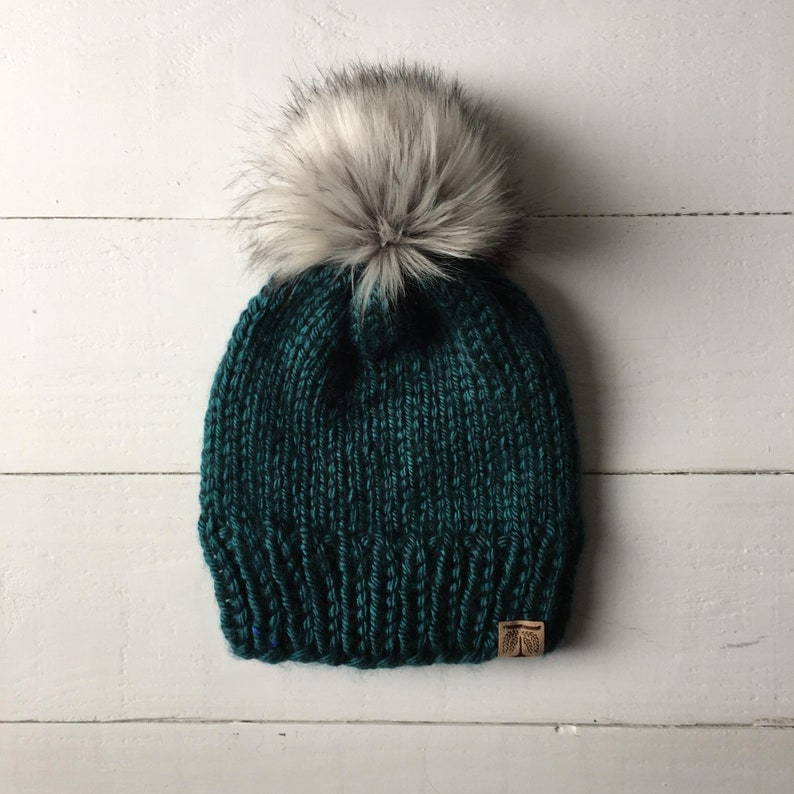 e818daa4977 The Classic Adult Custom Color knit hat faux fur pom pom