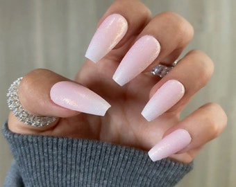 French Ombre Shimmer / Coffin Nails / Press On Nails / Nail Designs / Fake Nails / Glue On Nails / Stick On Nails / Nails with Designs