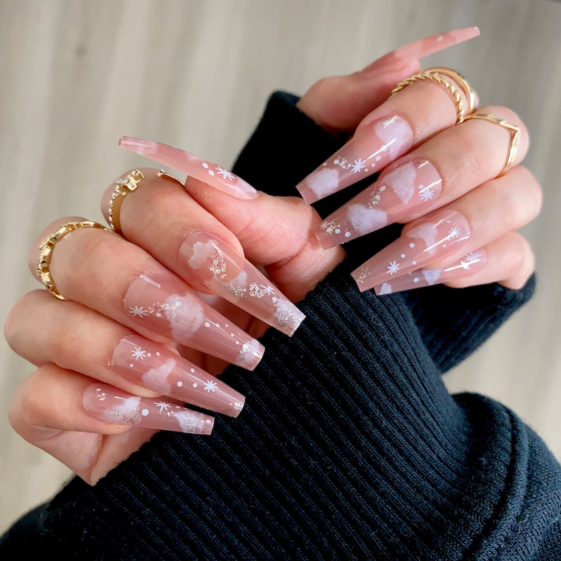 Nude Cloud Long Coffin Press On Nails 20 Pc Nail Set Stick On image 0