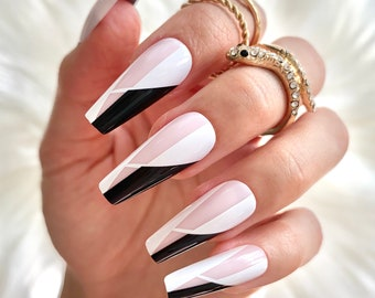 Coffin Nails / Nails Coffin / Press On Nails / Glue On Nails / Fake Nails / Stick On Nails / Coffin Nails Black