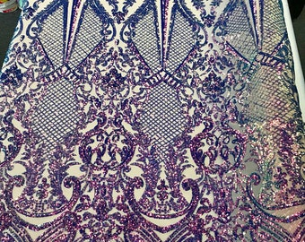 71d954a22 Damask Geometric Sequins On Stretch Power Mesh Fabric By The Yard Used For  -Dress-Bridal-Decorations  Pearl Lavender Nude  FREE SHIPPING!!!