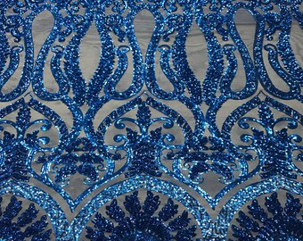 Royalty Paisley Damask On Power Mesh Fabric By The Yard Used For  -Dress-Bridal-Accessories-Prom  Royal Blue  FREE SHIPPING!!! 4eeb28b7fef5