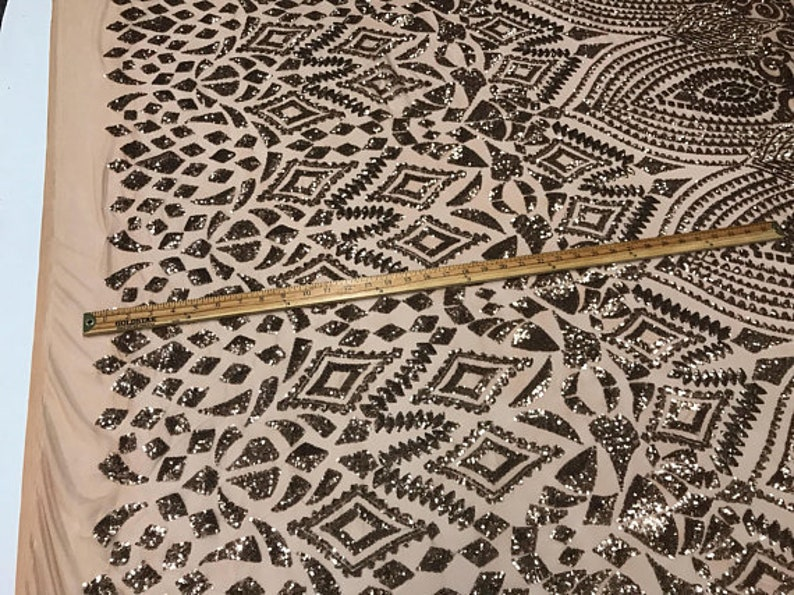 Dress-Bridal-Decorations FREE SHIPPING! Aztec Geometric Embroidery Sequins on Elastic Power Mesh Fabric By The Yard Used For Nude