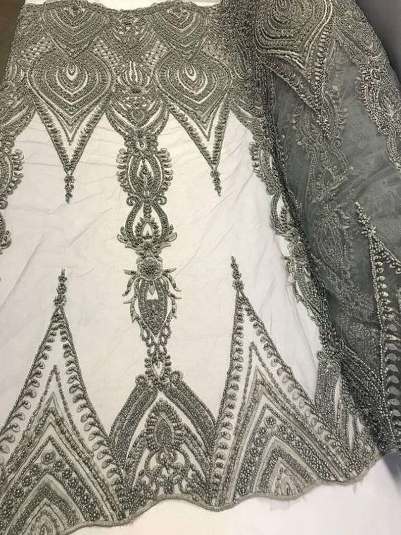 Dress-Accessories-Bridal-Nightgown-Prom FREE SHIPPING!!! Geometric Diva Heavy Beaded On Mesh Fabric By The Yard Used For Gray