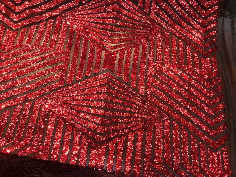Bombshell Geometric Sequins On Mesh Fabric By The Yard Embroidered Dash Used For RedBlack Mesh FREE SHIPPING!!! Dress-Bridal-Decorations