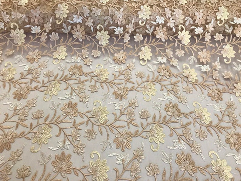 Lace Fabric Floral Gold Multi-color By The Yard Embroidered Mesh Dress
