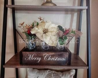 Mason jar Christmas centerpiece, mason jar Christmas decor,holiday table decor, rustic Christmas decor, Christmas mason jars, holiday