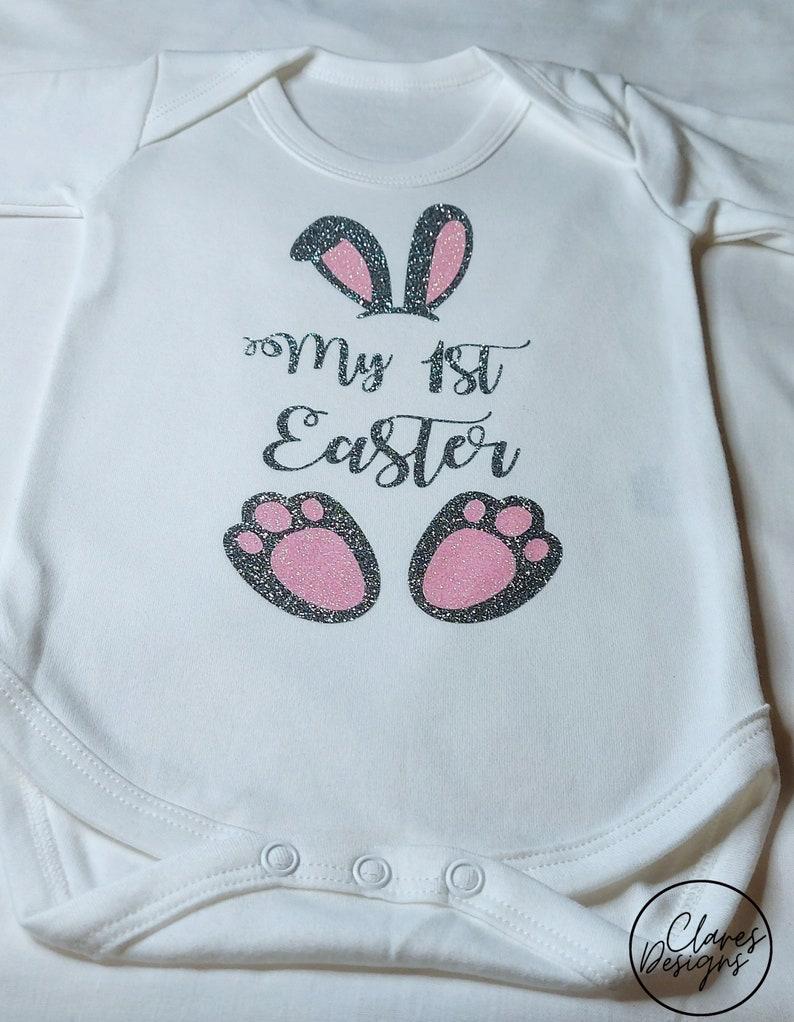New-born Easter gift My 1st Easter Glitter Bunny outfit Easter baby outfit Babys first Easter bodysuit