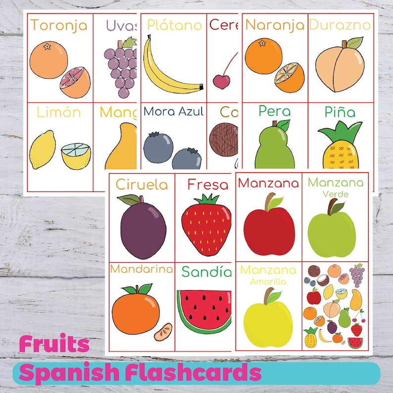 graphic relating to Printable Flashcards for Toddler known as Spanish Fruit Flashcards, Spanish Preschool